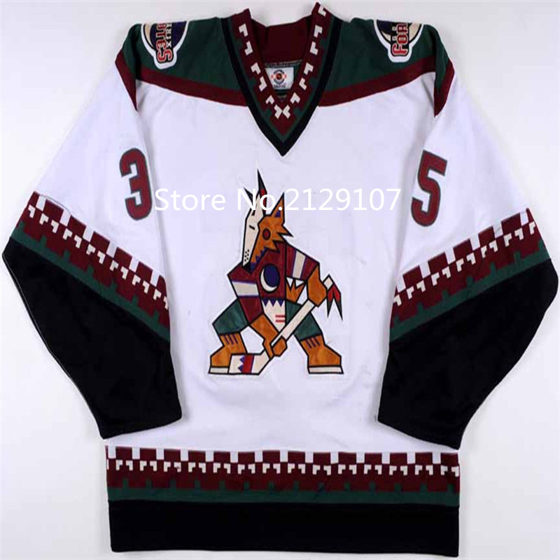 Mens cheap stitched Phoenix Coyotes 1997 Vintage Throwback Jerseys Black White #35 NIKOLAI KHABIBULI Coyotes Ice Hockey Jersey<br><br>Aliexpress