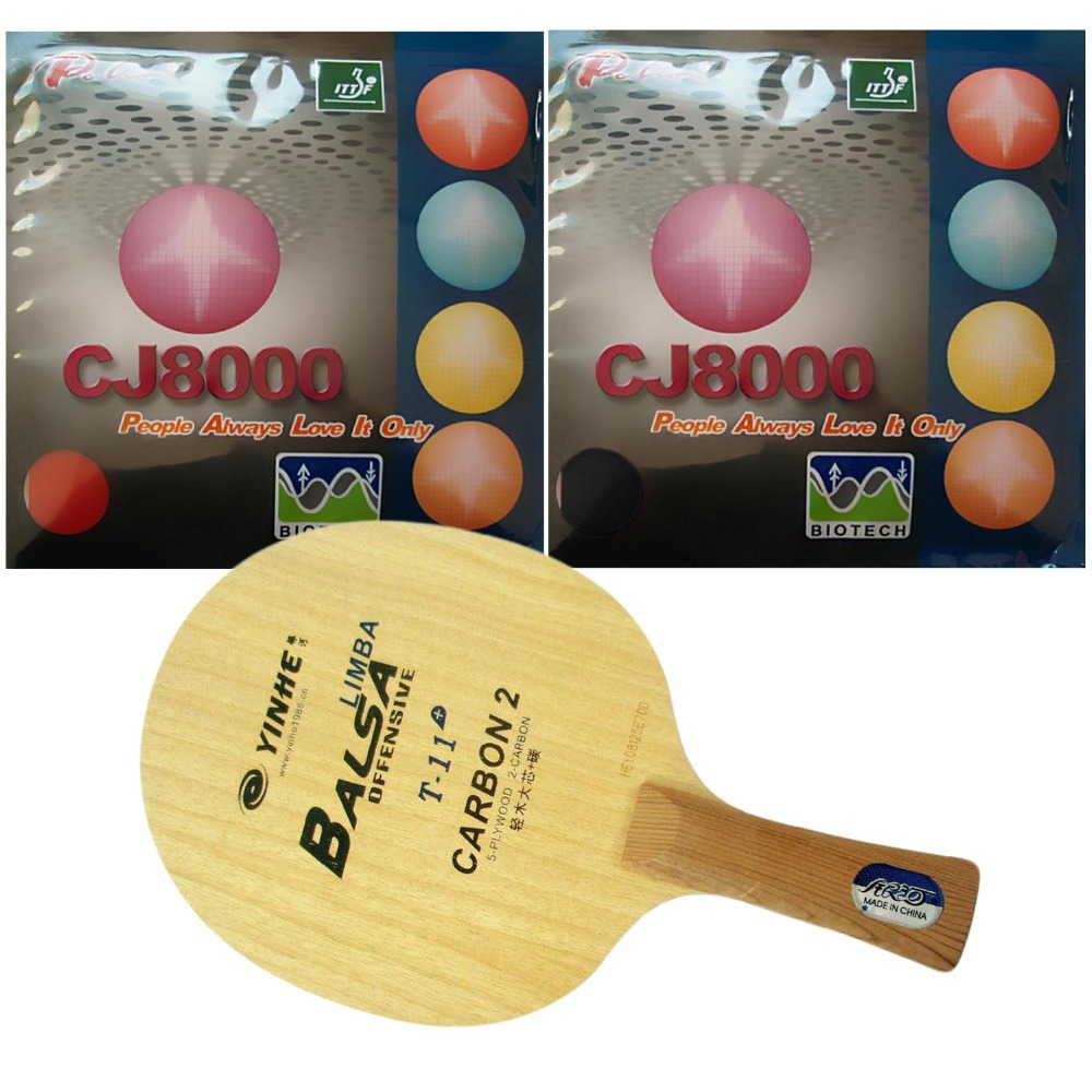 Pro Table Tennis/ PingPong Combo Racket: Galaxy T-11+ with 2x Palio CJ8000 (BIOTECH) 2-Side Loop Type (H36-38)