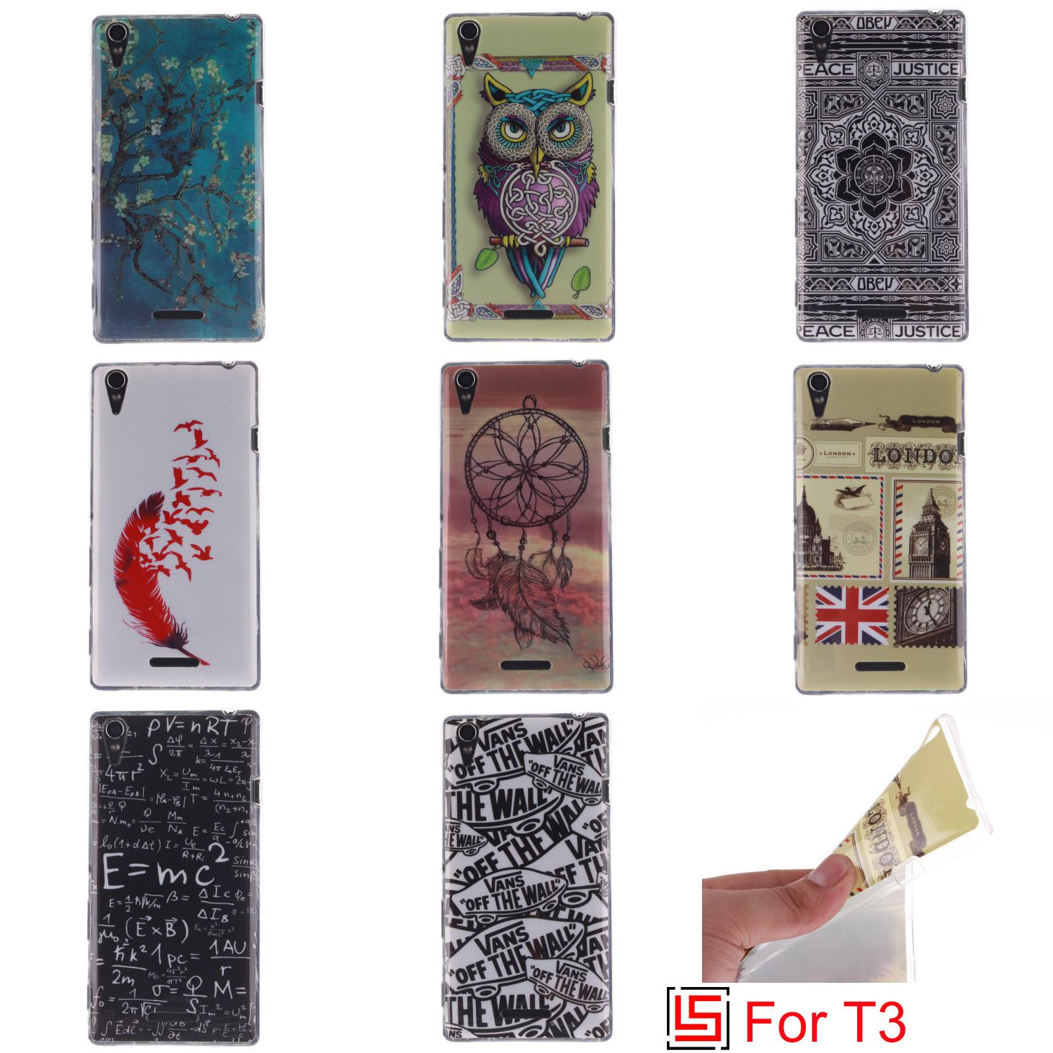 Best Fashion Art Ultra Thin TPU Silicone Soft Phone Cell Case Cover Bag For Sony Soni Xperia Xperi Experi Experia T3 Tree(China (Mainland))