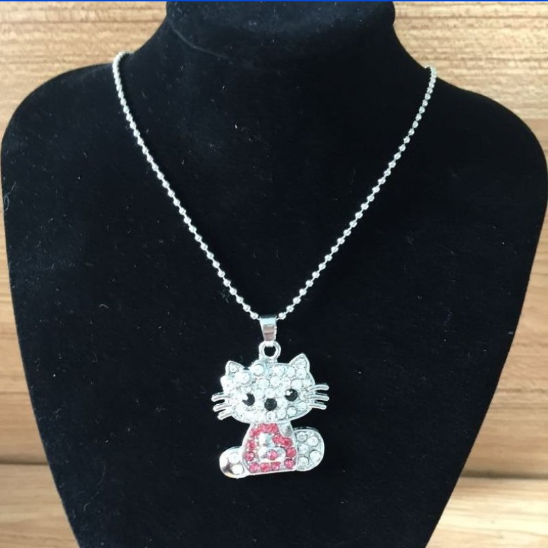 Siywina Hot Sale!Wholesale Best Quality Crystal Hello Kitty Silver Necklace & Pendant 2017 New Fashion Austria Crystal Necklace(China (Mainland))