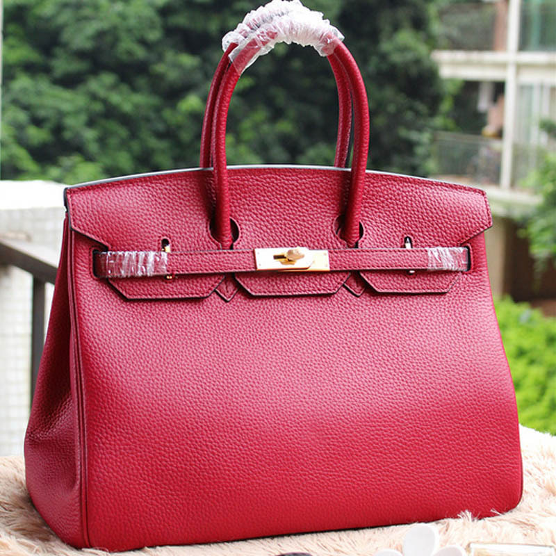 High Quality Women Handbags Genuine Leather H Real Women Bag Fashion Ladies Shoulder Bags Famous Brands Designers 30/35 Red Bags<br><br>Aliexpress