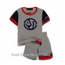 2016  Italy Brand Fashion Breathable Baby Clothing Set Summer Children's Clothes Boys Sport Twinset Male Kids Football Suit 2-7y(China (Mainland))