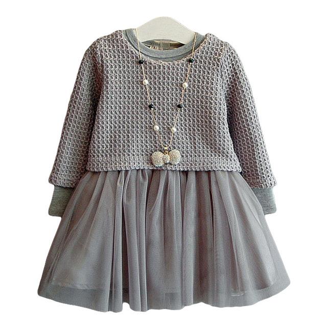 Бесплатная доставка 2015 осень зима девушки платье детская длинным рукавом O шеи девушки плетеная сетка два-шт платье
