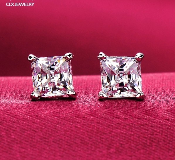 8MM / 10MM Large square 4 claws unisex AAA+ CZ diamond stud earrings 18K white gold plated post earrings for men and women(China (Mainland))