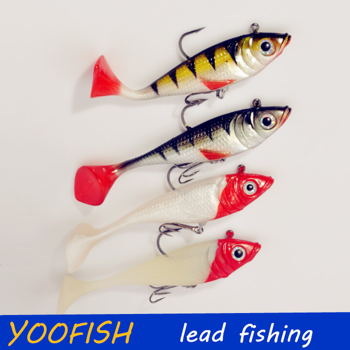5pcs 20g 11cm Fishing lures sea fishing tackle soft bait luminous lead fishing artificial bait jig wobblers rubber silicon lure(China (Mainland))
