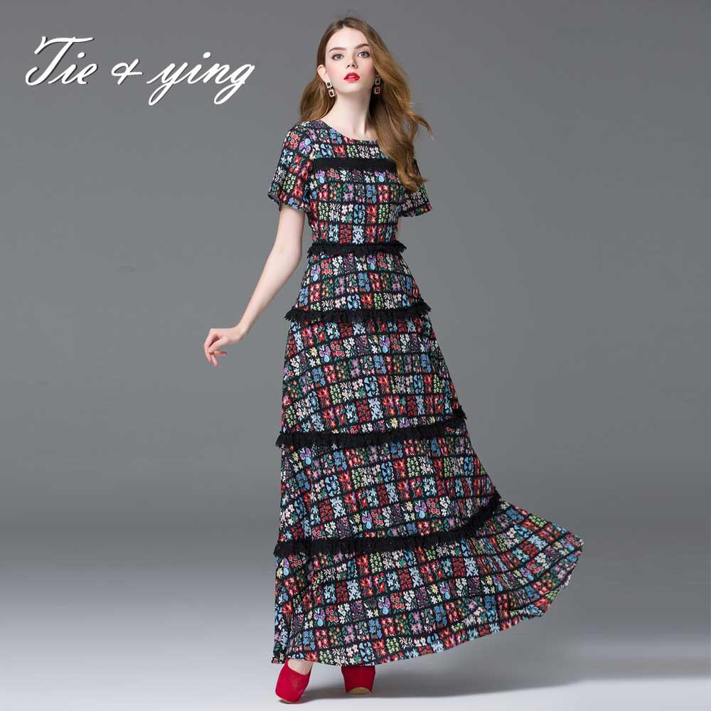 Высокого класса длинное платье с цветочным 2016 летний новый американский Европейский взлетно-посадочной полосы королевский печать лоскутная макси тонкий бальное платье полный платья