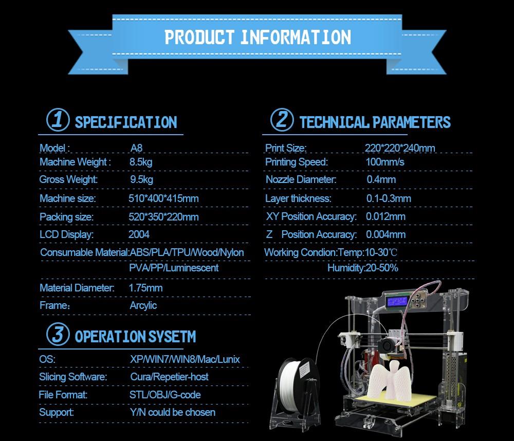 Новая акриловая Рамка reprap Пруса i3 своими руками 3D принтер 3 D impressora комплект принтер машина с ЖК-экран для SD-нить карточка 4G опционально