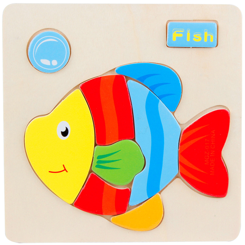 1pcs Colorful Kid Wooden Animals Cartoon Picture Puzzle Kids Baby Educational Toys Train Children Newborn Development C0A366(China (Mainland))