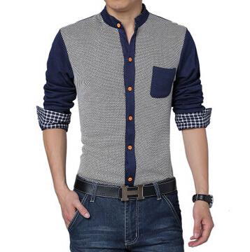 2015 мужская мода рубашки мужчин Лоскутное рубашки Осень-Весна мужская рубашка с ...