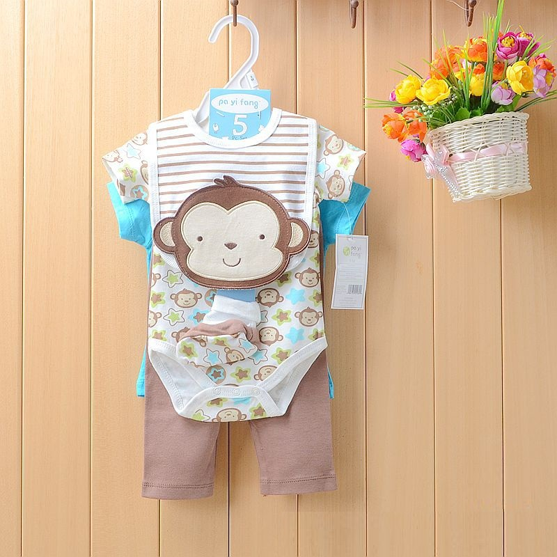 monkey baby boy clothes suit newborn t-shirt jumpsuit bibs socks bebe bodysuit pant set baby boy summer clothing(China (Mainland))