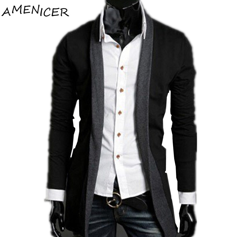 New Arrival 2015 Man Sweaters Turn Down Collar Covered Button Cardigan Solid Black Drak Gray Slim Fit Clothing Mens Sweaters(China (Mainland))