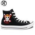 One Piece Jolly Roger Luffy Painted Shoes Anime Shoes Birthday Gifts Art Work Jolly Roger Custom