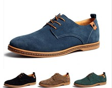 Free shipping Suede Big Size European style genuine leather oxfords casual men sneakers lace up winter shoes large size 38~47