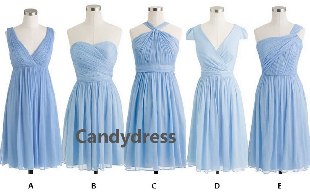 Light blue baby blue powder blue series bridesmaid dress for Baby blue wedding guest dress