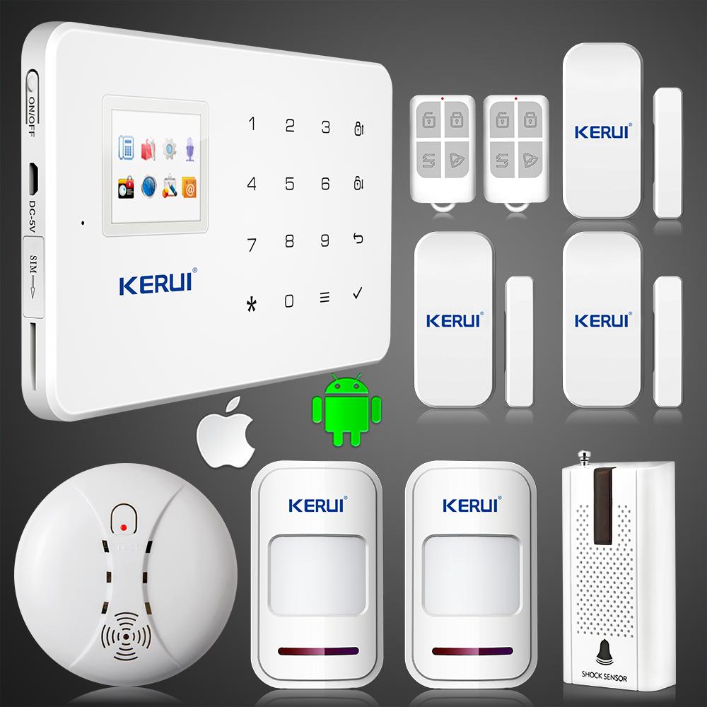 KERUI G18 GSM SMS call Intelligent voice home alarm system vibration sensor smoke fire detector alarm