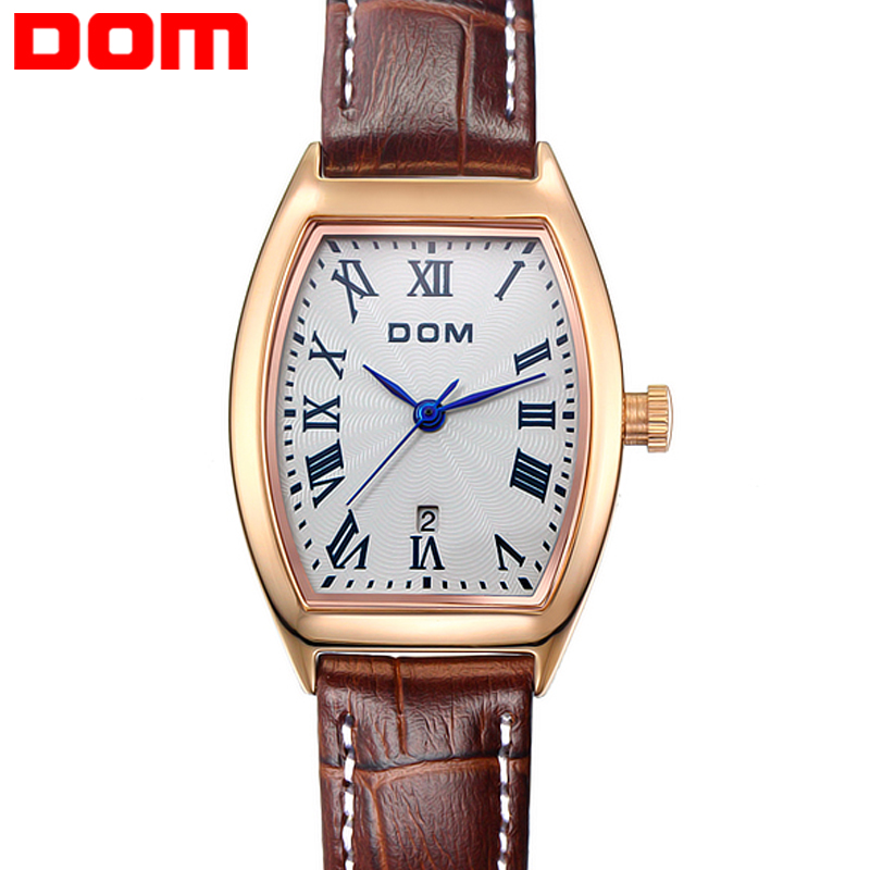 dom woman leather watch calendar quartz watch montre femme vintage watches square waterproof. Black Bedroom Furniture Sets. Home Design Ideas