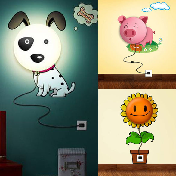 Colorful Cartoon Wall Sconce Night Light Wall Sticker Night Lamp Gift Child New Arrival Free Shipping(China (Mainland))