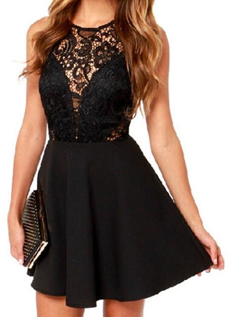 Женские летние стиль черный рукавов складки свободного покроя линия мини кружева выдалбливают крючком спинки фигурист платье 2015 мода