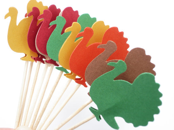Autumn Thanksgiving Turkey cupcake toppers Wedding Food Picks Bridal shower Bachelorette tea party muffin decorations