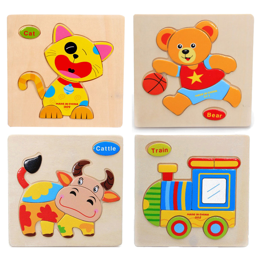 1 piece colorful Kids Wooden Animal Cartoon Picture Puzzle Baby Educational Toy train children newborn early development ZBF123(China (Mainland))