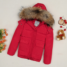 New style girl red jacket raccoon fur warm winter clothing / snowsuit clothes free shipping