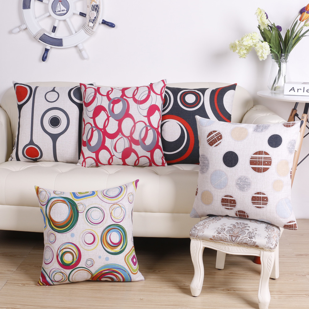 45cm Pop Geometry Circle Fashion Cotton Linen Fabric Throw Pillow Hot Sale 18 Inch New Home Decor Sofa Car Cushion Office Nap FR