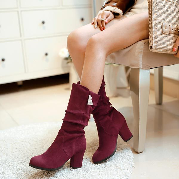 Nubuck leather fashion rhinestone Hot mid calf women boots thick heel pumps winter shoes concise Ladies half leg boots <br><br>Aliexpress