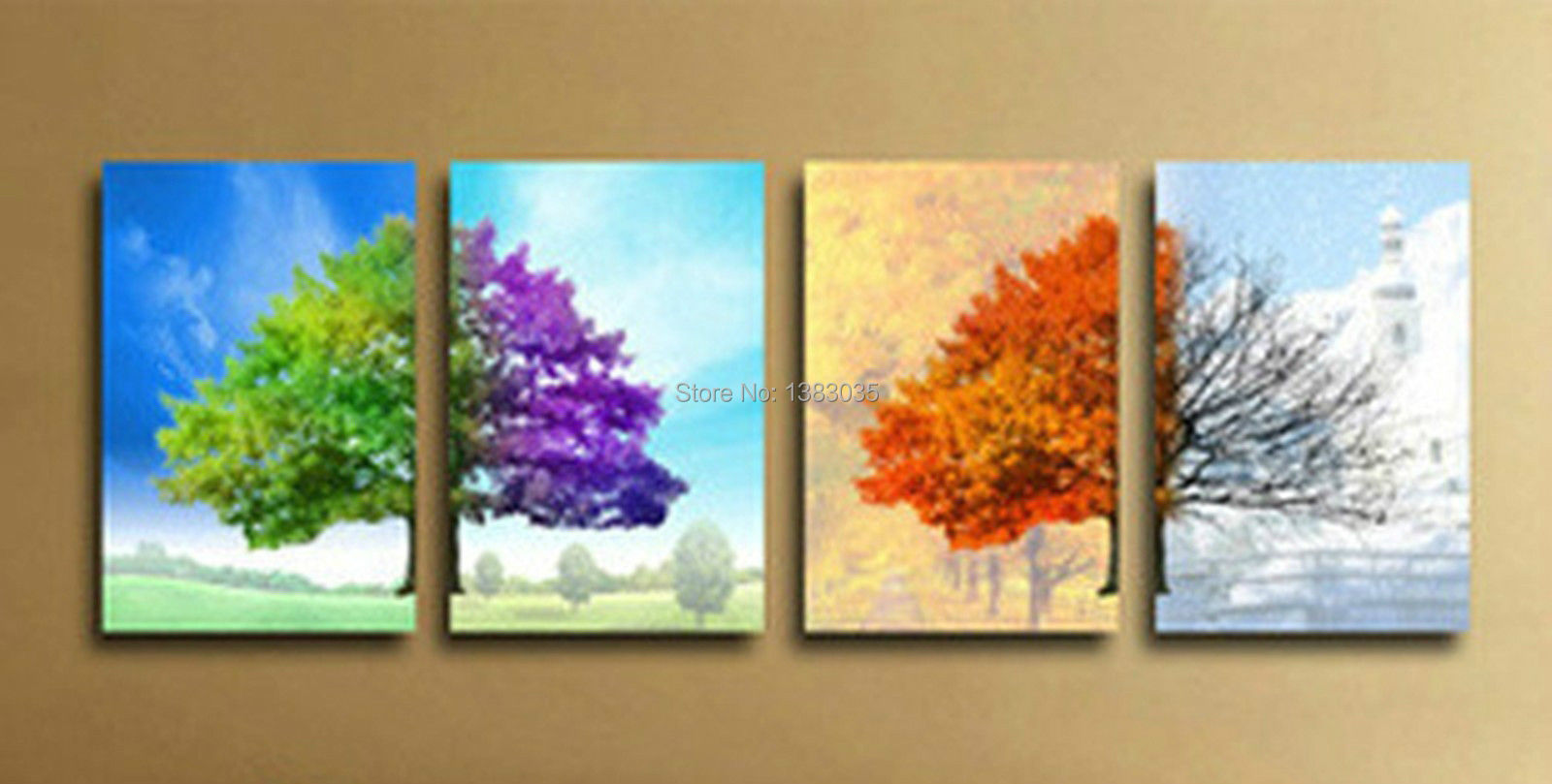Hand Painted Modern 4 Seasons Tree Wall Art Abstract Oil