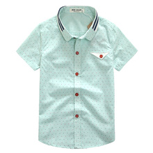 2016 children's summer clothing male child 100% short-sleeve shirt cotton casual shirt ploughboys fresh