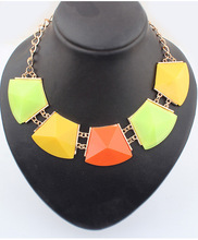 Sunshine jewelry store New Fashion Metal Alloy luxury Geometric Gem Chokers Statement Necklace