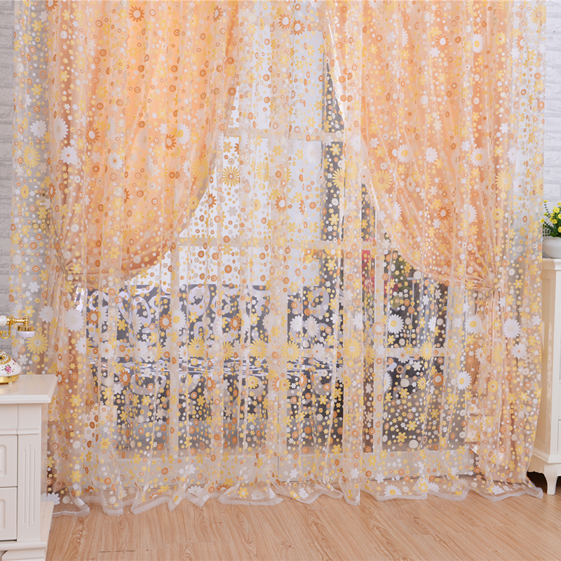 Free Shipping Pastoral Europe Style Chiffon Tulle Voile Curtains For Living Room Sheer Window Floral Printed Curtains(China (Mainland))
