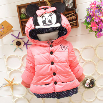 2014 New Children'S Winter Outerwear Girls Cartoon Minnie Coat Baby Plus Thick Wool Cotton Jacket 3 colors 0-2 years