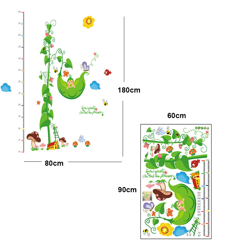 Chilren Room DIY Removable WaterProof Plastic Height Ruler Wall Stickers Creative Cartoon Pea Tree Wall Decor Vinyls Decal(China (Mainland))