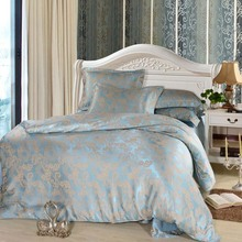 luxury 4pcs bed set home textile bed sheet satin jacquard bedding set 4pc bed linen quilt queen king size bedclothes comforters(China (Mainland))