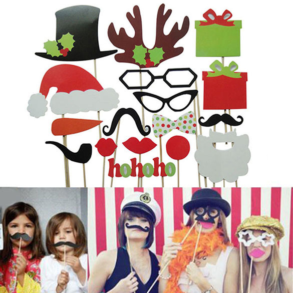 Гаджет  Free Shipping 17Pcs DIY Photo Booth Props Mustache Lip Antler Gift Stick Christmas Party  K5BO None Дом и Сад