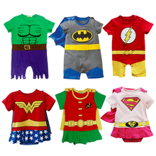 Costumi di Supereroi Infantili Delle Ragazze Dei Ragazzi del bambino Pagliaccetti Tollder Vestito Supergirl Superman Batman Flash Wonder Woman Hulk Robin Estate(China (Mainland))