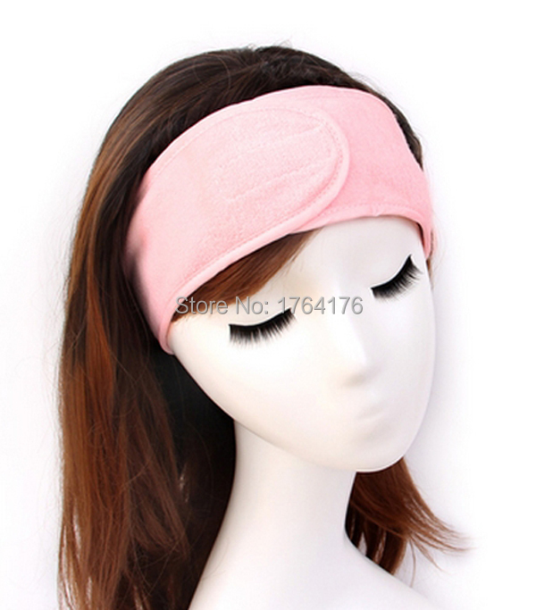 1PC Adjustable Towel Headband Spa Headband With Velcro Makeup Facial Yoga Turban Pink Color 1 Piece Free Shipping(China (Mainland))