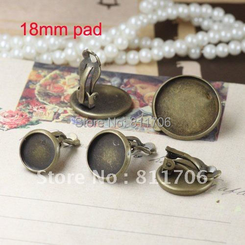 free shipping!!! 200pcs/lot 18mm pad Antique bronze earring clip jewelry findings<br><br>Aliexpress