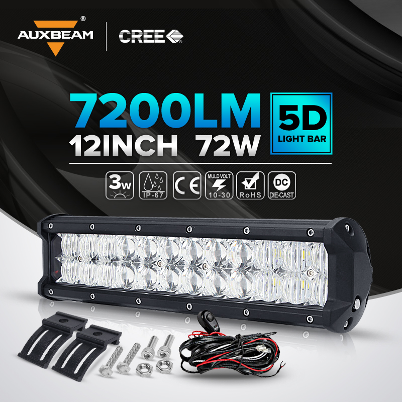 12 Inch 72W For Cree 5D Led Light Bar Spot & Flood Combo Beam Offroad Light For ATV SUV 4WD 4X4 Boating Hunting Truck Tractor(China (Mainland))