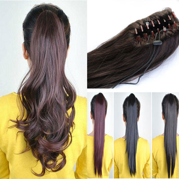 Fashion New Long 18 Clip In Ponytail Pony Tail Hair Extension Claw On Hair Piece Wavy Style