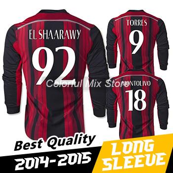 Free Shipping 2015 AC Milan Long Sleeve Jersey EL SHAARAWY TORRES 14 15 AC Milan Soccer Long Sleeve Football Shirts(China (Mainland))
