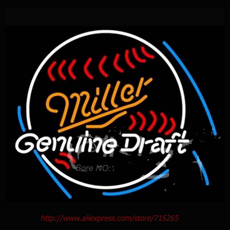 Miller Baseball Neon Signs Genuine Neon Bulbs Store Display Real Glass Tube Guarantee Handcraft Recreation Garage Pub Bar 28x24(China (Mainland))