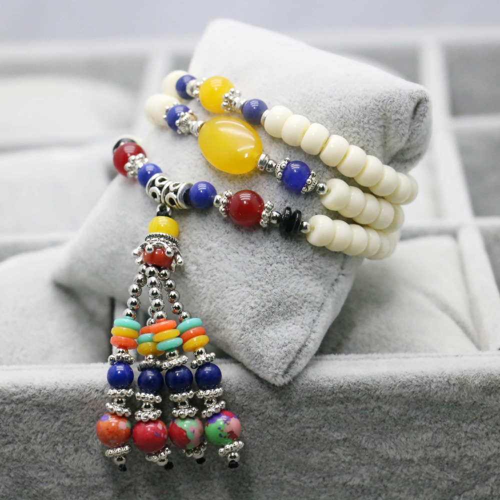 Retro style white Bracelet Pendant Tassels colorful Topaz beads hand chain for women girls Ladies Leisure time Jewelry Design(China (Mainland))