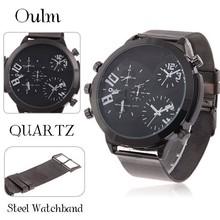 2015 Top moda corrió reloj Oulm 9423 Adventure time multifunción de tres movt steelWatch acero para hombre