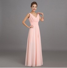 Peachy Pink Bridesmaid Dress Long Chiffon Cheap Winter Wedding Party Prom Dresses Vestido De Festa De Casamento Dama De Honra(China (Mainland))