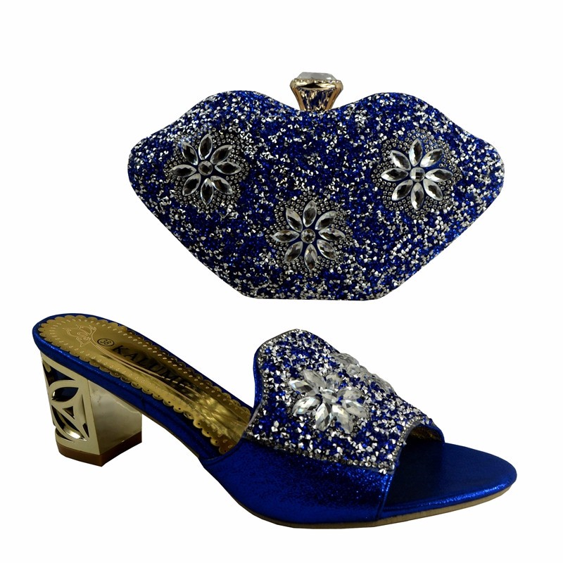 (No.1281)Italian Shoes with Matching bags Blue,African Shoes And Bags to match set high quality ladies matching shoe and bag.