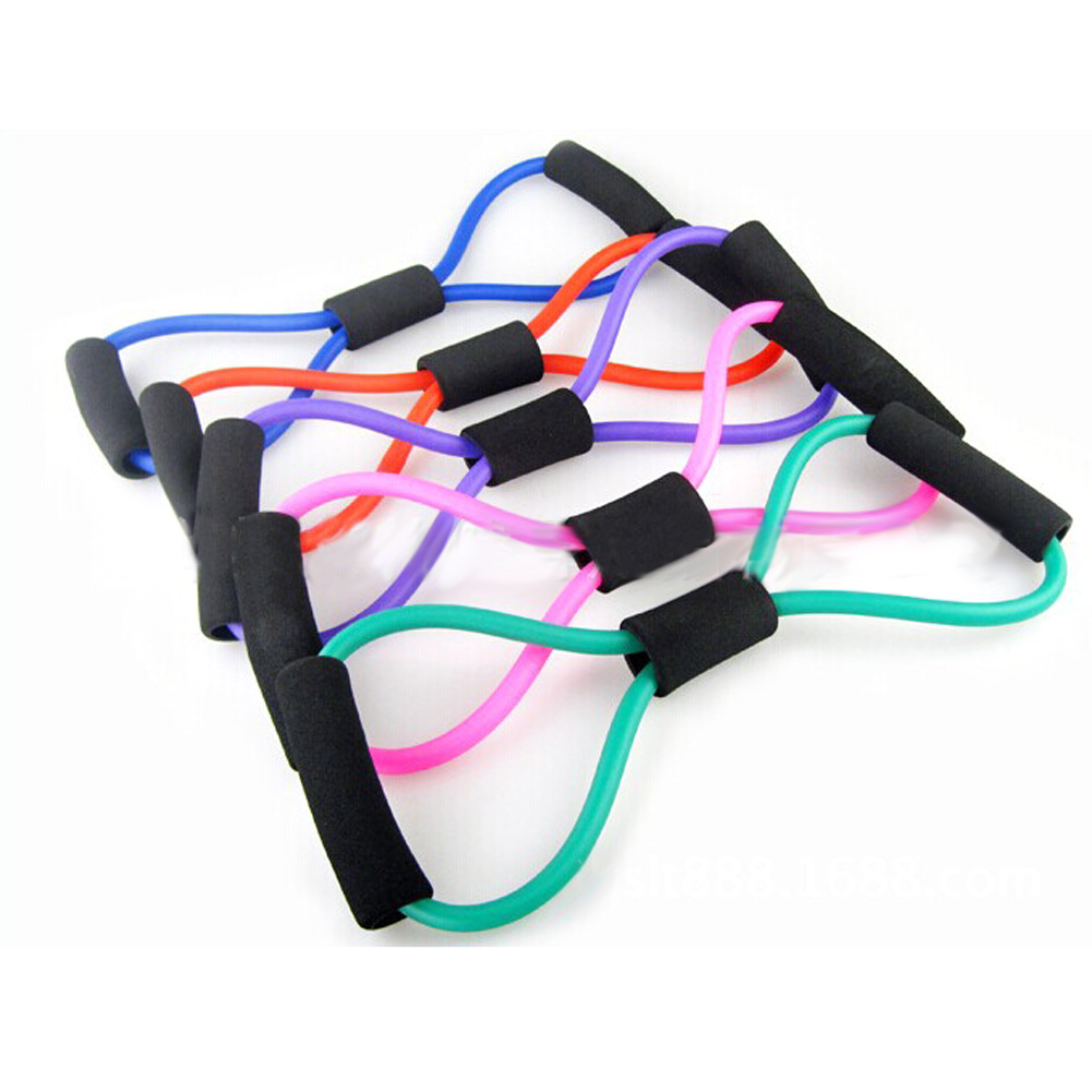 Resistance Training Bands Rope Muscle Elastic Band Tube Weight Control Fitness for Yoga 8 Type Fashion Body Building Tool(China (Mainland))