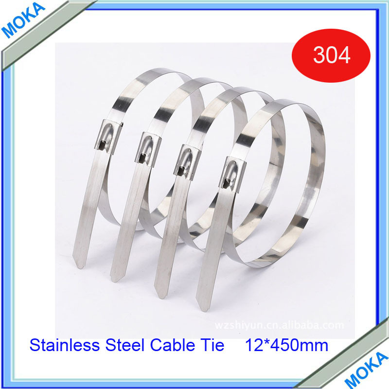 Free Shipping High Quality 100pcs/lot 12*450mm Thickness 2.5mm Best 304 Grade Stainless Steel Strap Ties(China (Mainland))