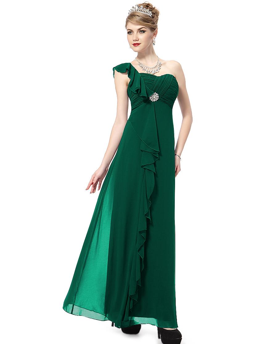 Long Evening Dresses 9503 Elegant One Shoulder Green Diamante 2015 Free Shipping(China (Mainland))