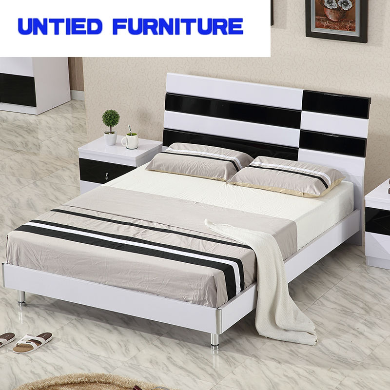 white and black modern beds hot selling simple bed for bedroom furniture bedroom set(China (Mainland))